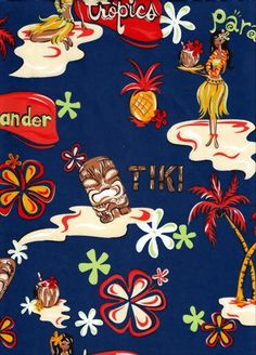 20akua black, tiki, hula girls, retro fabric, cotton apparel fabric. Add Discount code: (Pin10) in comment box at check out for 10% off sub total at BarkclothHawaii.com