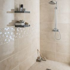 Faïence mur marbre beige brillant x cm, Murano like the small floor tiles and big wall tiles for shower (but not contrast element on wall) Marble Bathroom Floor, Beige Bathroom, Bathroom Flooring, Bathroom Interior, Tile Floor, Tile Bathrooms, Marble Wall, Modern Bathrooms, Small Bathrooms