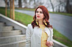 Spring jacket, yellow top, luxury earings