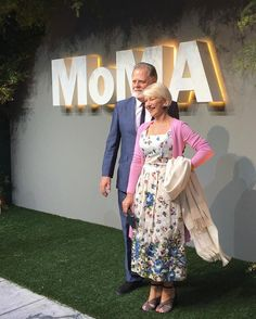 "Helen Mirren on MoMA: ""The museum has a spectacular collection. There's always something to see."" Mirren arrived with her husband, filmmaker Taylor Hackford. #PartyInTheGarden"