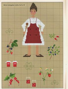 0 point de croix femme cuisine légumes - cross stitch cook woman vegetables