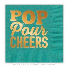 Pop Pour Cheers Copper Foil Beverage Napkins