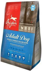 ORIJEN Adult Freeze-Dried dog food contains a symphony of cage-free chicken, turkey and nest-laid eggs from local prairie farms, wild-caught fish from Vancouver Island, and whole fruits and berries from the Okanagan and Fraser valleys - all delivered FRESH and gently freeze-dried to lock in their goodness and taste.