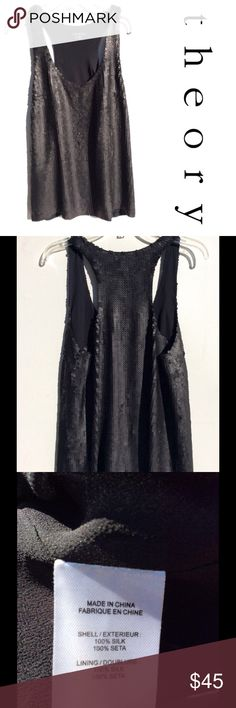 THEORY sequin black silk racer Tank Top M Medium Super cute THEORY black sequined Top - size medium  Dressed up or down, will surely become a favorite! Brand: THEORY Material: SILK 100% AUTHENTIC GUARANTEED gorgeous and so versatile excellent condition! Theory Swim