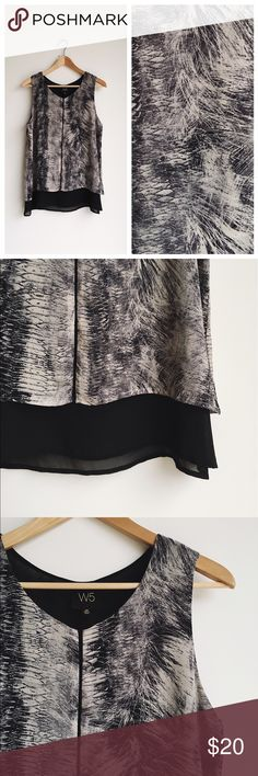"""W5 blush and black tank This one is so cool! Layered with a super unique pattern! Fully lined. 18.5"""" at bust, 25"""" length. Tops"""