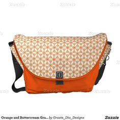 Orange and Buttercream Graphic Messenger Bags