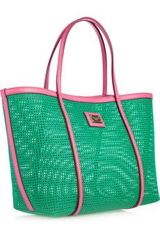 Dolce & Gabbana pink and green leather-trimmed woven tote. #prettypearlsinc