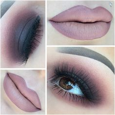 black smokey eye blending into mauve-y pink, ombre muted pink / mauve lips
