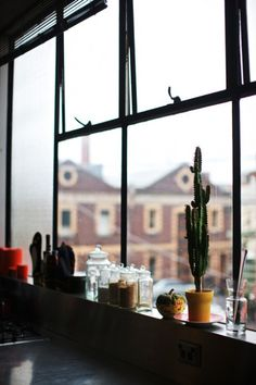 simon & gustov : utopian heights ++ via assemble papers / cactus / window / black / vases Living Room Decor, Living Spaces, Interior And Exterior, Interior Design, H & M Home, Through The Window, Humble Abode, My Dream Home, Interior Inspiration