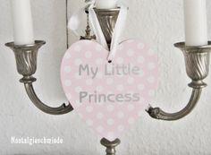 Nostalgieschmiede - Dekoherz mit Punkten My little Princess  www.nostalgieschmiede.de