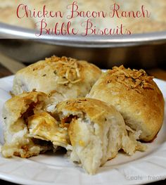 Chicken Bacon Ranch Bubble Biscuits ~ Flaky Grands Biscuits staffed with Chicken, Bacon and Ranch and baked to perfection!