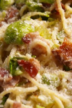 Bacon Brussels Sprouts Spaghetti Squash (5 blocks for 1/4): 8 slices bacon, chopped 1 shallot, finely chopped 2 cloves garlic, minced 1 lb. brussels sprouts, ends trimmed and thinly sliced kosher salt Freshly ground black pepper Juice of 1/2 lemon 2 tbsp. butter 2 tbsp. all-purpose flour 1 c. milk 1 c. low-sodium chicken broth 1 c. shredded mozzarella 1/3 c. shredded Parmesan, 8C Spaghetti Squash, 8oz breaded chicken