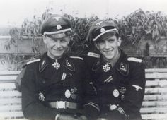 On the left if Hauptsturmfuehrer Willi Hein, commander of the 2nd Company; on his right is his best friend, Gerd Schumacher, who was killed in action during the last few days of the war.