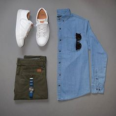 You cannot go wrong with this color scheme; plain and simple  Shirt: Denim & Flowers  Chinos: @jachsny  Sneakers: @greatsbrand  Watch: @avi_8  Sunglasses: @kent.wang