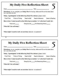 Daily 5 Self-Assessment. Daily 5 Reading, Daily 5 Math, Guided Reading, Reading Activities, Teaching Reading, Learning, Education And Literacy, Teaching Resources, Teaching Ideas