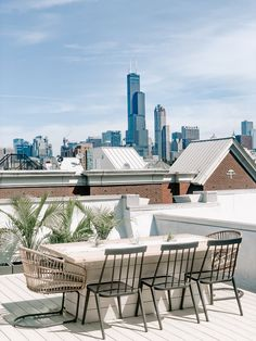 Rooftop patio Rooftop Dining, Rooftop Patio, Outdoor Dining, Outdoor Rugs, Outdoor Decor, Dining Tables, Indoor Outdoor, Tall Planter Boxes, Small Guest Rooms
