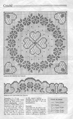 Крючок. Салфетка квадратная ажурная с цветочным узором и сердечками в технике филейное кружево
