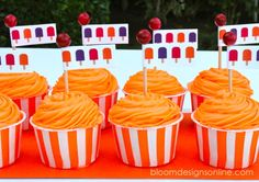 Love these cute little DIY cupcake toppers :) Great Popsicle Party idea! via @Bloom Designs- Jenny Raulli