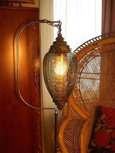 VINTAGE SWAG LAMP // Mid Century Lighting /// Vintage Mood Lighting /// Hanging Lamp // Globe Lamp /// Smoke Grey Crackled Glass Light by Aces Finds Vintage, via Flickr