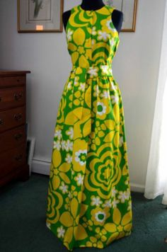 Fabulous Vtg 60s Waltah Clarke Super Mod Hawaiian Maxi Party Sun Dress s M | eBay