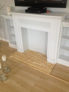 AuBergewohnlich Home Decorating Ideas Handcrafted Wooden Fireplace Mantel In White And  Solid Wooden Floor .