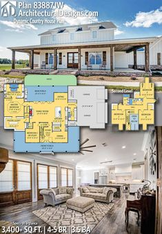 Plan Dynamic Country House Plan 2019 Architectural Designs Home Plan gives you bedrooms baths and 3400 sq. Where do YOU want to build? The post Plan Dynamic Country House Plan 2019 appeared first on House ideas. Pole Barn House Plans, Pole Barn Homes, New House Plans, Dream House Plans, Garage Plans, Barn Home Plans, Metal Barn House, House Design Plans, Metal Shop Houses