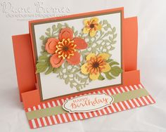 Centre step fancy fold birthday card using Stampin Up Botanical Blooms / Builder dies & Bloomin' Heart die. by Di Barnes #colourmehappy 2016 Occasions Catalogue - 2016-17 Annual Catalogue