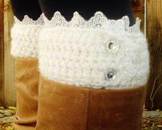 Shabby chic Handmade Crochet Boot Cuff Leg warmer with lace and rhinestone button accents on Etsy, $25.00