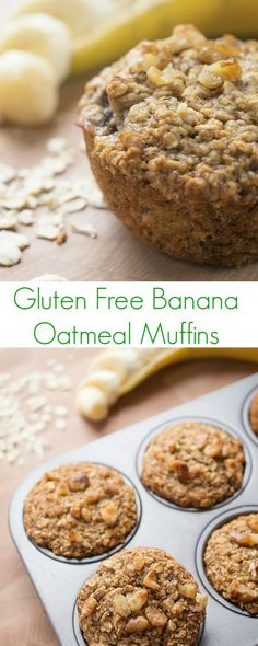 This healthy, whole grain and gluten free banana oatmeal muffin recipe is moist and cake-like yet contains no oil or butter.