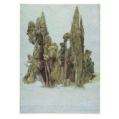 British Museum - Samuel Palmer, The Cypresses at the Villa d'Este, brown ink, watercolour, gouache, graphite, black chalk on board