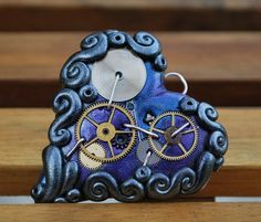 Steampunk blue & purple, hand sculpted, polymer clay heart.