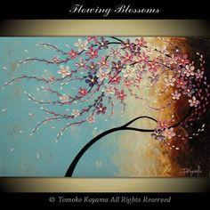 Original Impasto Acrylic Modern Abstract Art  Painting on  Gallery wrapped Canvas 36 x 24, Home Decor, -Flowing Blossoms- by Tomoko Koyama. $199.00, via Etsy.