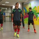 RECIFE, BRAZIL - JUNE 23: Rafael Marquez and Mexico players walk in the tunnel to warm up prior to the 2014 FIFA World Cup Brazil Group A match between Croatia and Mexico at Arena Pernambuco on June 23, 2014 in Recife, Brazil.  (Photo by Alex Livesey - F