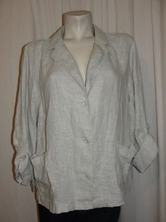 J. Jill Jacket Light Gray Linen Strapped Folded Long Sleeve Blazer Sz XL Petite #JJill #BasicJacket #WeartoWorkCasual