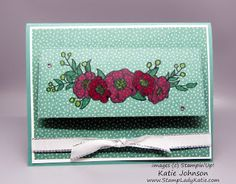 Using a large die, any shape, you can do a partial cut to create a door to hide a message. Stampin'Up!'s Bloosoms in Bloom stamp set featured on this card.