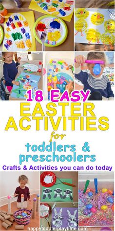 18 easy easter crafts & activities for toddler & preschoolers – happy toddler playtime spring activities Easter Art, Easter Crafts For Kids, Toddler Crafts, Toddler Snacks, Crafts To Do, Preschool Crafts, Easter Ideas, Easter Eggs, Bunny Crafts
