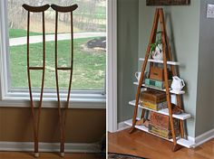 Easy Pinteresting DIY Home Decorating Ideas - Crutches BookShelf Craft Project