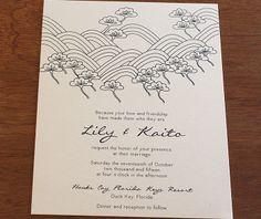 lotus letterpress wedding invitation by invitations by ajalon