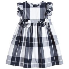 Girls Blue Checked Cotton Dress for Girl by Il Gufo. Discover more beautiful designer Dresses for kids online at Childrensalonoutlet.com.