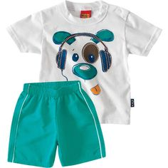 Conjunto Infantil Masculino de Verão Dog Branco - Kyly :: 764 Kids | Roupa bebê e infantil