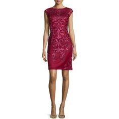 Sue Wong Cap-Sleeve Lace Sheath Cocktail Dress ($395) ❤ liked on Polyvore featuring dresses, port, lace sheath dress, purple cocktail dress, short cap sleeve lace dress, purple dress and lace dress