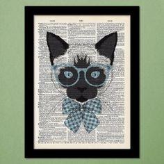 Curious Cat Dictionary Art Print