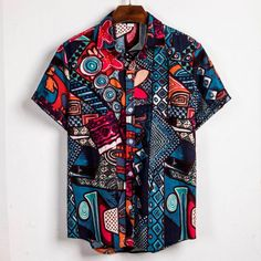 Mens Vintage Shirts Ethnic Printed Turn Down Collar Top Loose Casual Short Sleeve Shirt Mens Vintage Shirts, Short Sleeve Linen Shirt, African Shirts, African Clothes, Half Shirts, Indian Men Fashion, Shirt Print Design, Summer Shirts, Casual Shirts For Men
