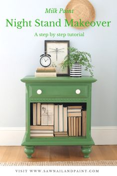 Step by step makeover of a dated night stand using milk paint. The skirt and doors were removed and feet added for an updated look.