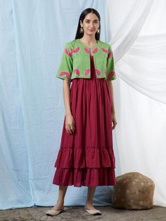 Maroon Double Frilled Cotton Dress with Green Clamp Dye Shrug- Set of 2 Casual Skirt Outfits, Stylish Dresses, Casual Dresses, Kurti Neck Designs, Saree Blouse Designs, Dress Designs, Fancy Kurti, Shrug For Dresses, Dress Clothes For Women