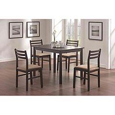 @Overstock - Materials: Wood, wood veneers, microfiberFinish: Cappuccino Upholstery materials: Microfiberhttp://www.overstock.com/Home-Garden/Cappuccino-Veneer-5-piece-Dinette-Set/6291878/product.html?CID=214117 $270.99