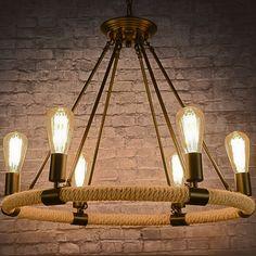 Suspension ronde en corde de chanvre Luminaire industriel