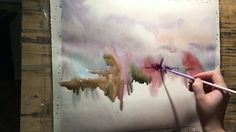 """Watercolor lesson, wet on wet technique without drawing: """"Piece of heaven"""""""