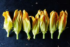 The Best (Non-Fried) Ways to Eat Squash Blossoms on Soup, scrambles, baked eggs, quesadillas Squash Flowers, Zucchini Flowers, Zucchini Blossoms, Fried Squash Blossoms, Stuffed Squash Blossoms, Squash Blossom Recipe Baked, Crudite, Flower Food, Summer Squash