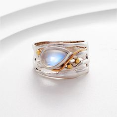 Moonstone, silver, gold filled & brass detail ring